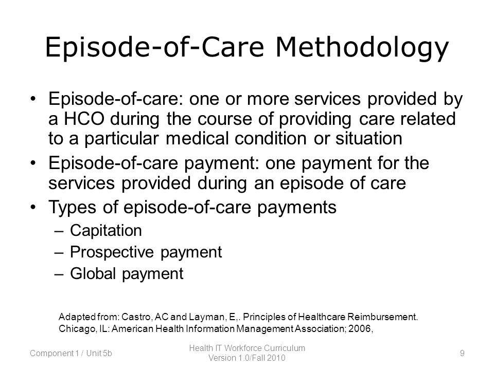 Episode-of-Care Methodology Episode-of-care: one or more services provided by a HCO during the course of providing care related to a particular medical condition or situation Episode-of-care payment: one payment for the services provided during an episode of care Types of episode-of-care payments –Capitation –Prospective payment –Global payment Adapted from: Castro, AC and Layman, E,.