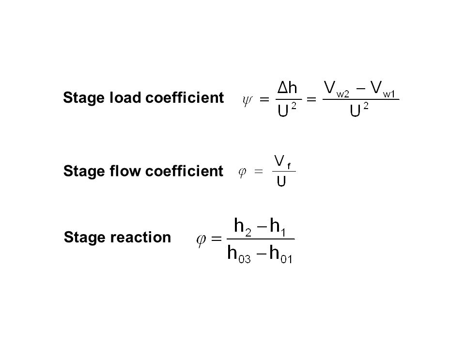 Stage load coefficient Stage flow coefficient Stage reaction