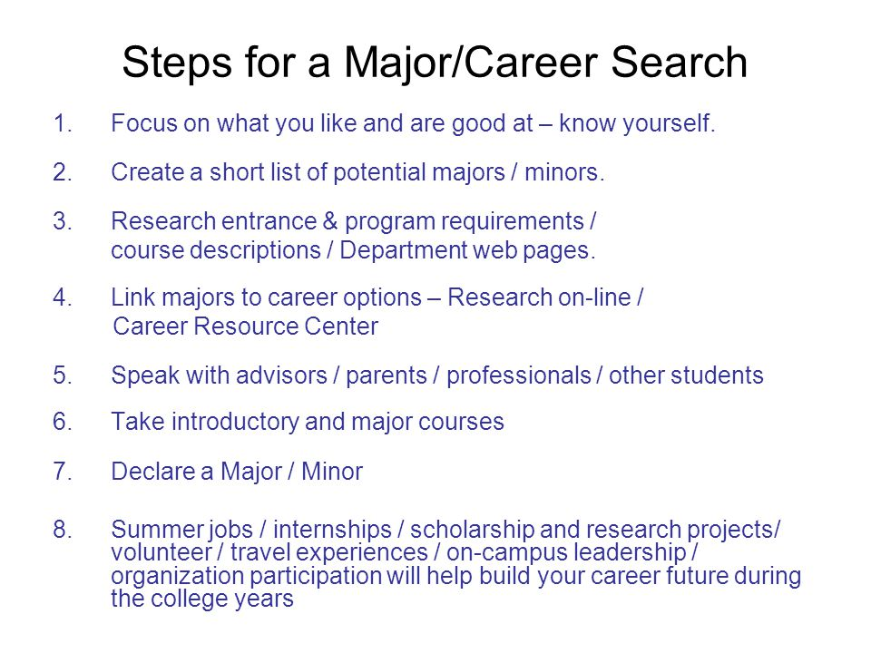 Steps for a Major/Career Search 1.Focus on what you like and are good at – know yourself.