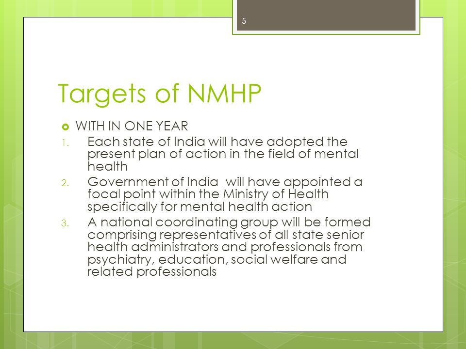 Targets of NMHP  WITH IN ONE YEAR 1.