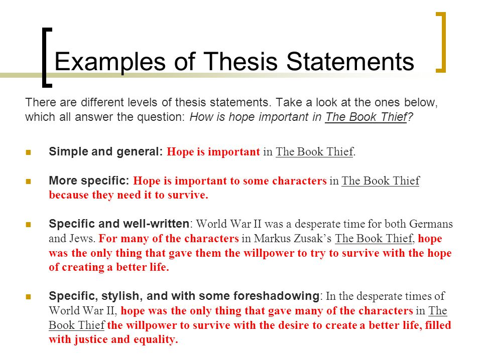 Example Of Thesis Statement Essay