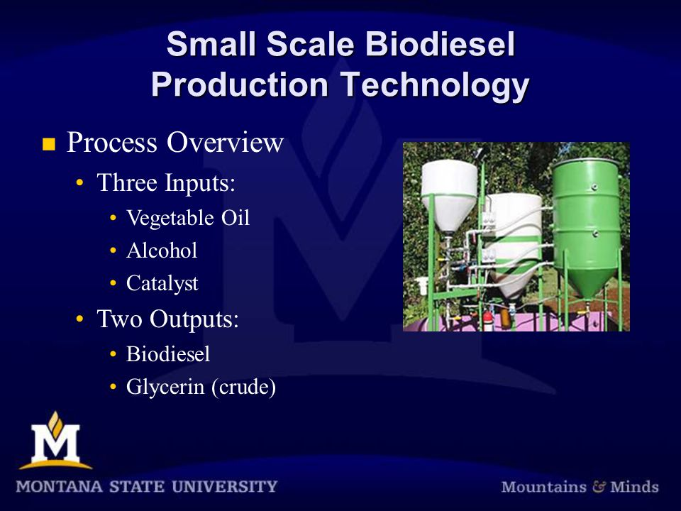 Small Scale Biodiesel Production Technology Process Overview Three Inputs: Vegetable Oil Alcohol Catalyst Two Outputs: Biodiesel Glycerin (crude)