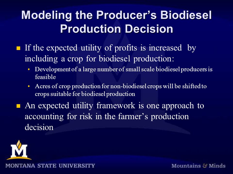 Modeling the Producer's Biodiesel Production Decision If the expected utility of profits is increased by including a crop for biodiesel production: Development of a large number of small scale biodiesel producers is feasible Acres of crop production for non-biodiesel crops will be shifted to crops suitable for biodiesel production An expected utility framework is one approach to accounting for risk in the farmer's production decision