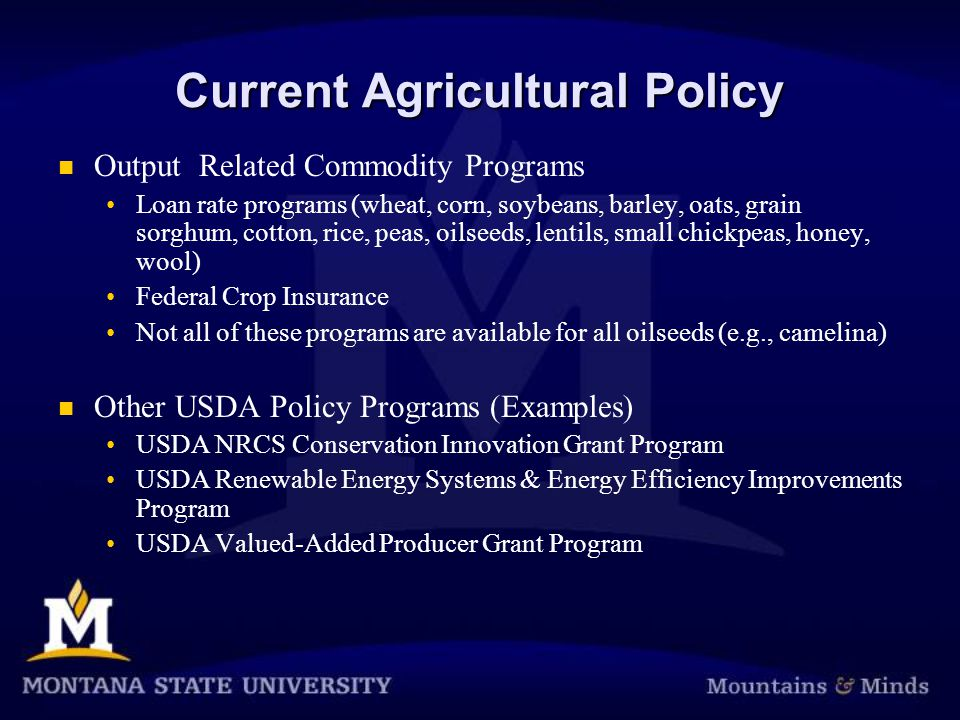 Current Agricultural Policy Output Related Commodity Programs Loan rate programs (wheat, corn, soybeans, barley, oats, grain sorghum, cotton, rice, peas, oilseeds, lentils, small chickpeas, honey, wool) Federal Crop Insurance Not all of these programs are available for all oilseeds (e.g., camelina) Other USDA Policy Programs (Examples) USDA NRCS Conservation Innovation Grant Program USDA Renewable Energy Systems & Energy Efficiency Improvements Program USDA Valued-Added Producer Grant Program