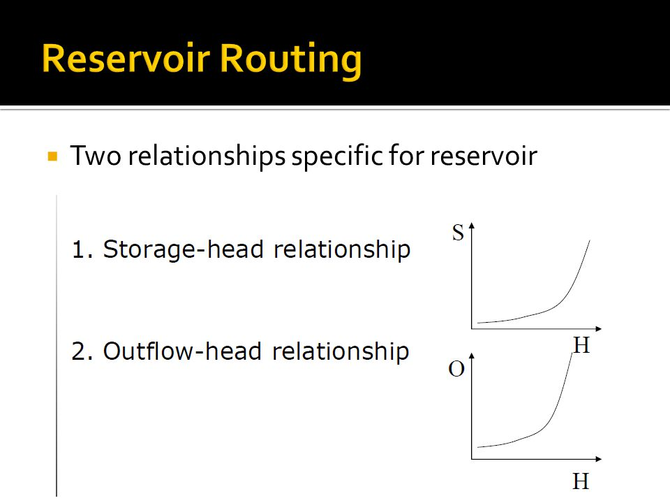  Two relationships specific for reservoir