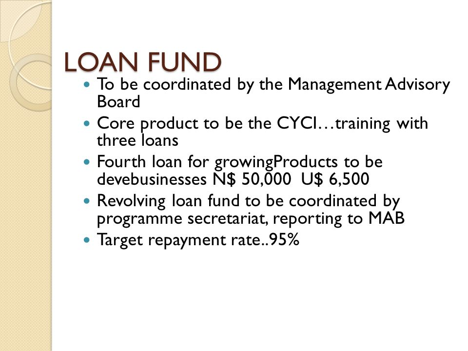 LOAN FUND To be coordinated by the Management Advisory Board Core product to be the CYCI…training with three loans Fourth loan for growingProducts to be devebusinesses N$ 50,000 U$ 6,500 Revolving loan fund to be coordinated by programme secretariat, reporting to MAB Target repayment rate..95%