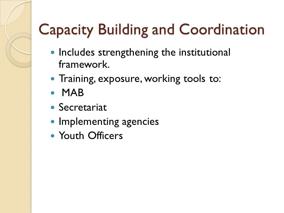 Capacity Building and Coordination Includes strengthening the institutional framework.