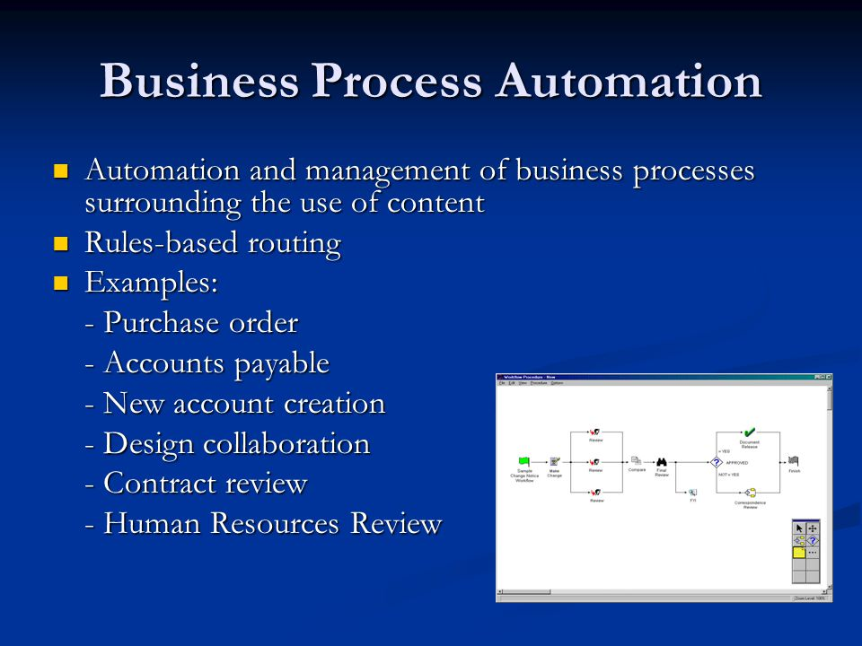 Business Process Automation Automation and management of business processes surrounding the use of content Automation and management of business processes surrounding the use of content Rules-based routing Rules-based routing Examples: Examples: - Purchase order - Accounts payable - New account creation - Design collaboration - Contract review - Human Resources Review