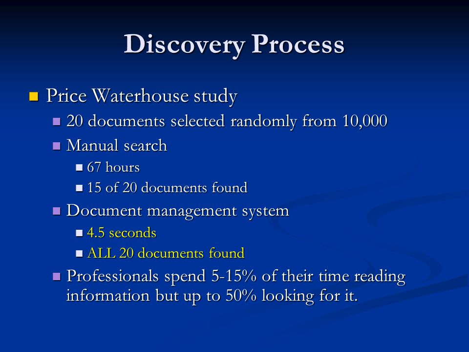 Discovery Process Price Waterhouse study Price Waterhouse study 20 documents selected randomly from 10, documents selected randomly from 10,000 Manual search Manual search 67 hours 67 hours 15 of 20 documents found 15 of 20 documents found Document management system Document management system 4.5 seconds 4.5 seconds ALL 20 documents found ALL 20 documents found Professionals spend 5-15% of their time reading information but up to 50% looking for it.