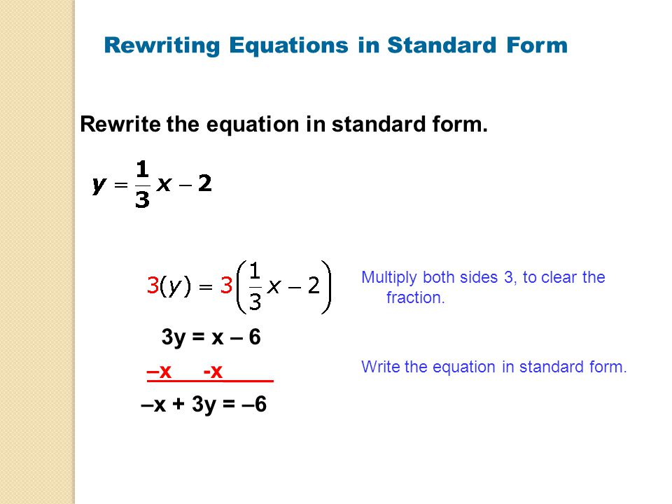 How To Rewrite An Equation In Standard Form - Jennarocca