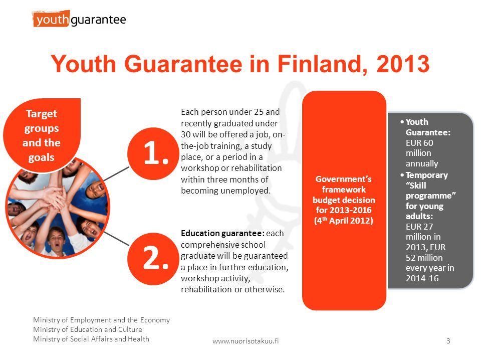 Ministry of Employment and the Economy Ministry of Education and Culture Ministry of Social Affairs and Health   3 Youth Guarantee in Finland,
