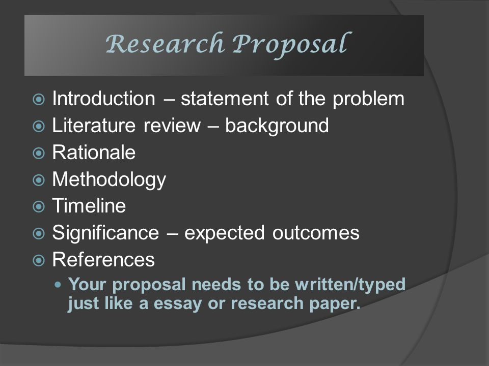 Example of rationale in research proposal