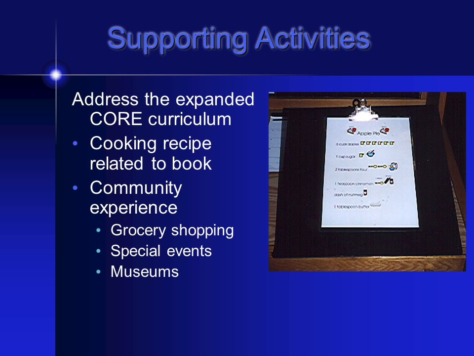 Supporting Activities Preview & Review Vocabulary Book reports Sentence starters Questions Curriculum activities Expanded CORE curriculum