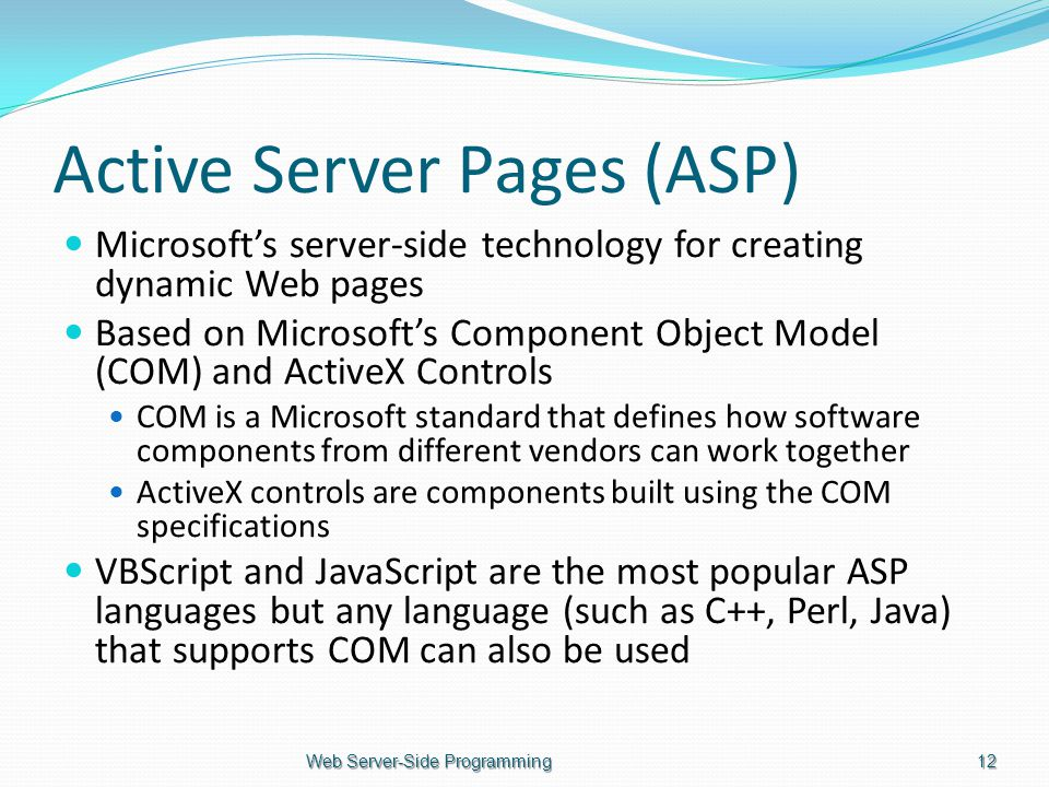 Active Server Pages (ASP) Microsoft's server-side technology for creating dynamic Web pages Based on Microsoft's Component Object Model (COM) and ActiveX Controls COM is a Microsoft standard that defines how software components from different vendors can work together ActiveX controls are components built using the COM specifications VBScript and JavaScript are the most popular ASP languages but any language (such as C++, Perl, Java) that supports COM can also be used Web Server-Side Programming12