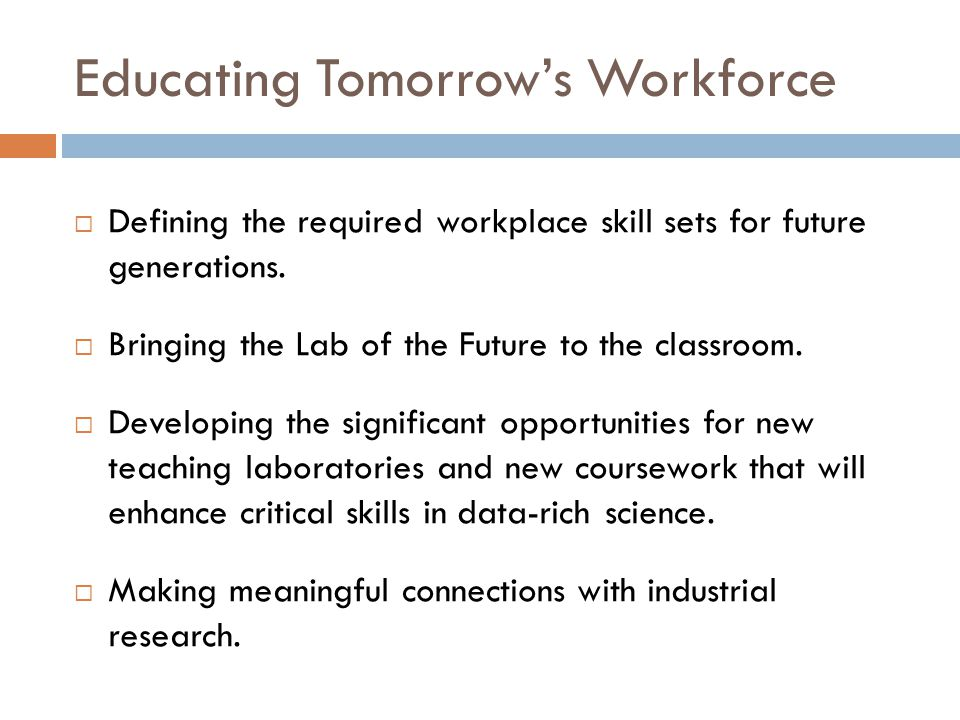 Educating Tomorrow's Workforce  Defining the required workplace skill sets for future generations.