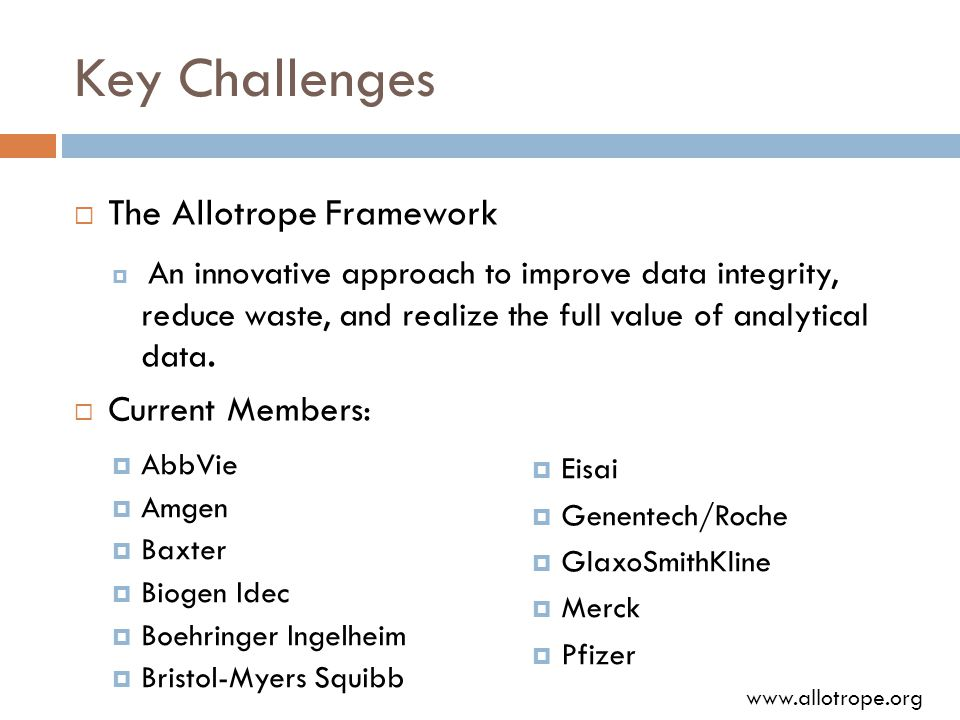 Key Challenges  The Allotrope Framework  An innovative approach to improve data integrity, reduce waste, and realize the full value of analytical data.