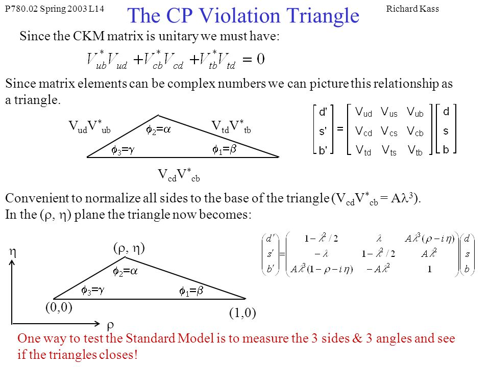 P Spring 2003 L14Richard Kass The CP Violation Triangle Since the CKM matrix is unitary we must have: Since matrix elements can be complex numbers we can picture this relationship as a triangle.