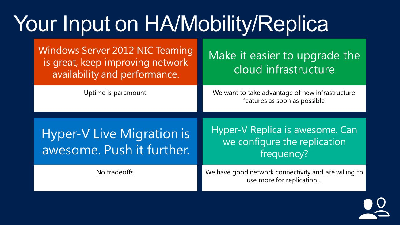 Windows Server 2012 NIC Teaming is great, keep improving network availability and performance.