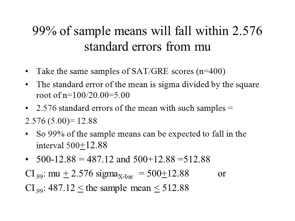 The standard error of the sample mean and confidence intervals How ...