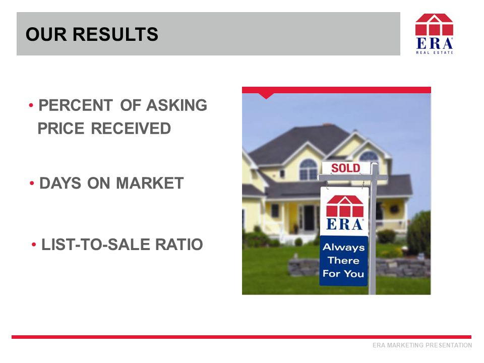 PERCENT OF ASKING PRICE RECEIVED OUR RESULTS ERA MARKETING PRESENTATION DAYS ON MARKET LIST-TO-SALE RATIO