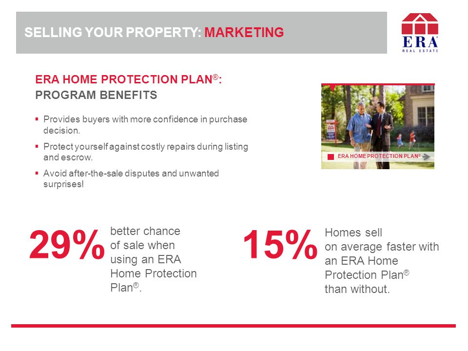 ERA HOME PROTECTION PLAN ® : PROGRAM BENEFITS  Provides buyers with more confidence in purchase decision.