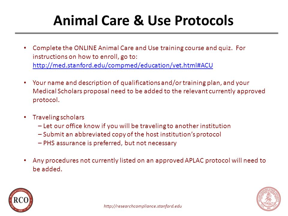 Animal Care & Use Protocols   Complete the ONLINE Animal Care and Use training course and quiz.