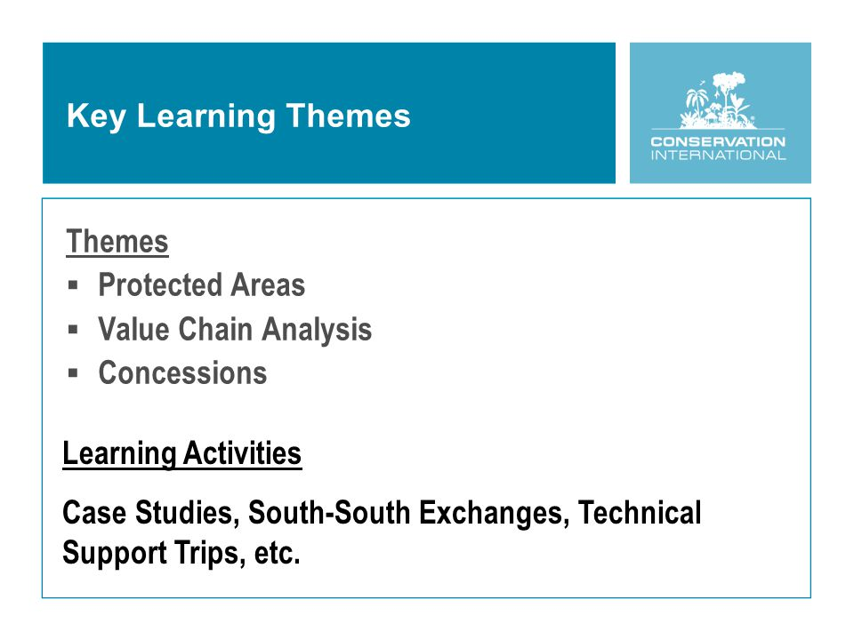 Key Learning Themes Themes  Protected Areas  Value Chain Analysis  Concessions Learning Activities Case Studies, South-South Exchanges, Technical Support Trips, etc.