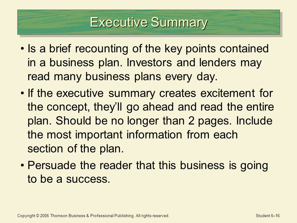 Key points in a business plan