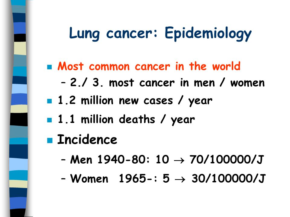 Lung cancer: Epidemiology n Most common cancer in the world –2./ 3.