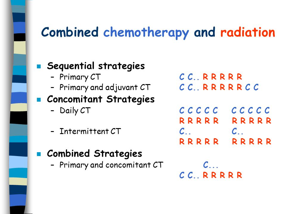 Combined chemotherapy and radiation n Sequential strategies –Primary CTC C..