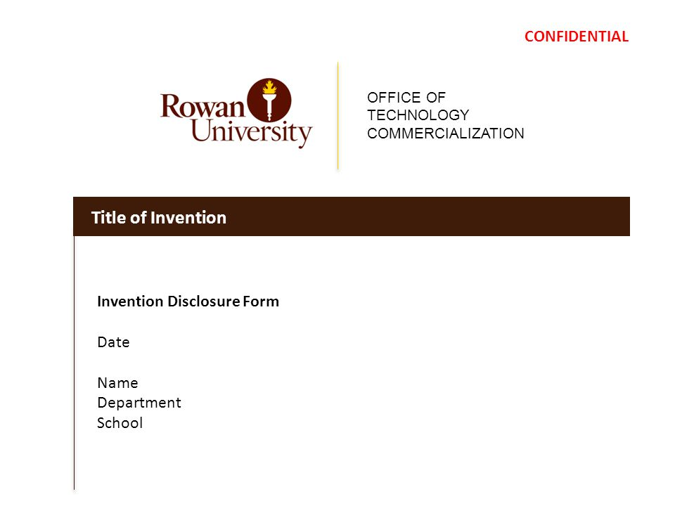 OFFICE OF TECHNOLOGY COMMERCIALIZATION Title of Invention ...