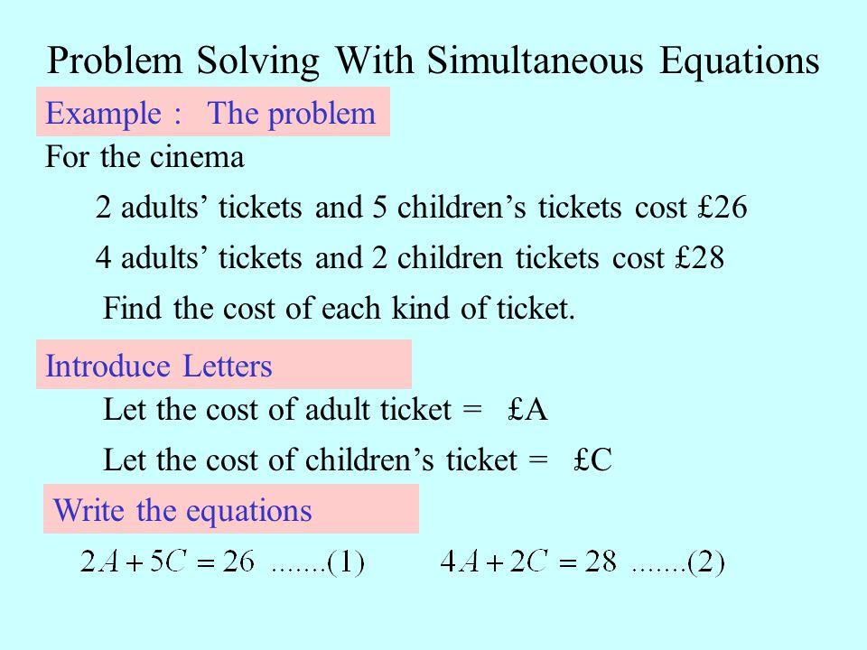 Simultaneous equations problem solving