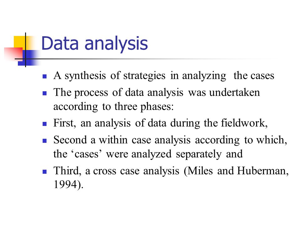 Data analysis A synthesis of strategies in analyzing the cases The process of data analysis was undertaken according to three phases: First, an analysis of data during the fieldwork, Second a within case analysis according to which, the 'cases' were analyzed separately and Third, a cross case analysis (Miles and Huberman, 1994).