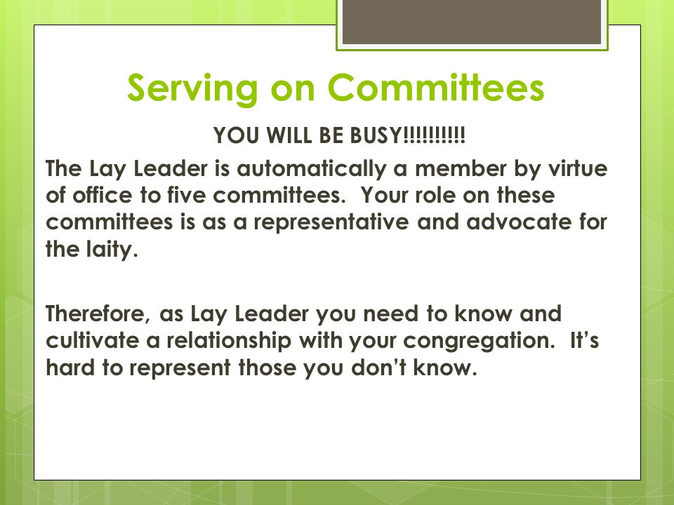 Serving on Committees YOU WILL BE BUSY!!!!!!!!!.