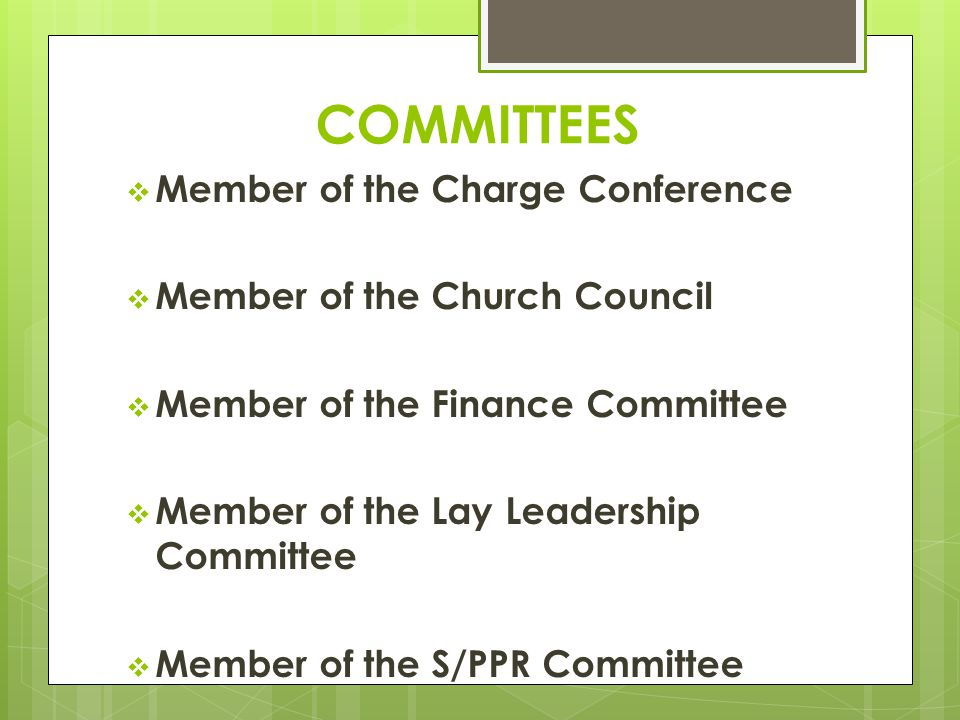 COMMITTEES  Member of the Charge Conference  Member of the Church Council  Member of the Finance Committee  Member of the Lay Leadership Committee  Member of the S/PPR Committee