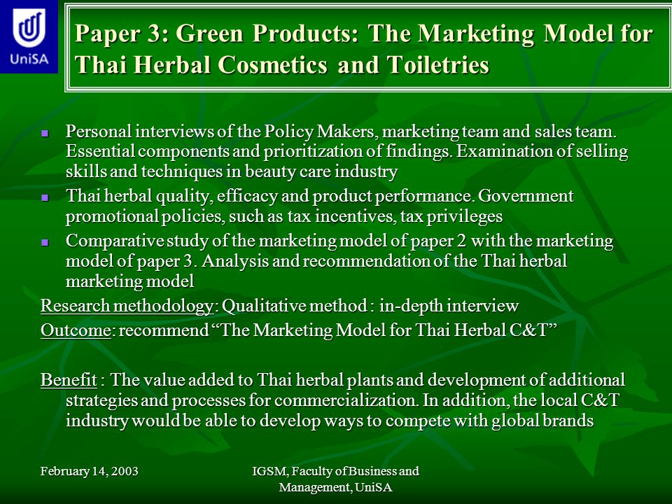 Green Marketing Research Papers