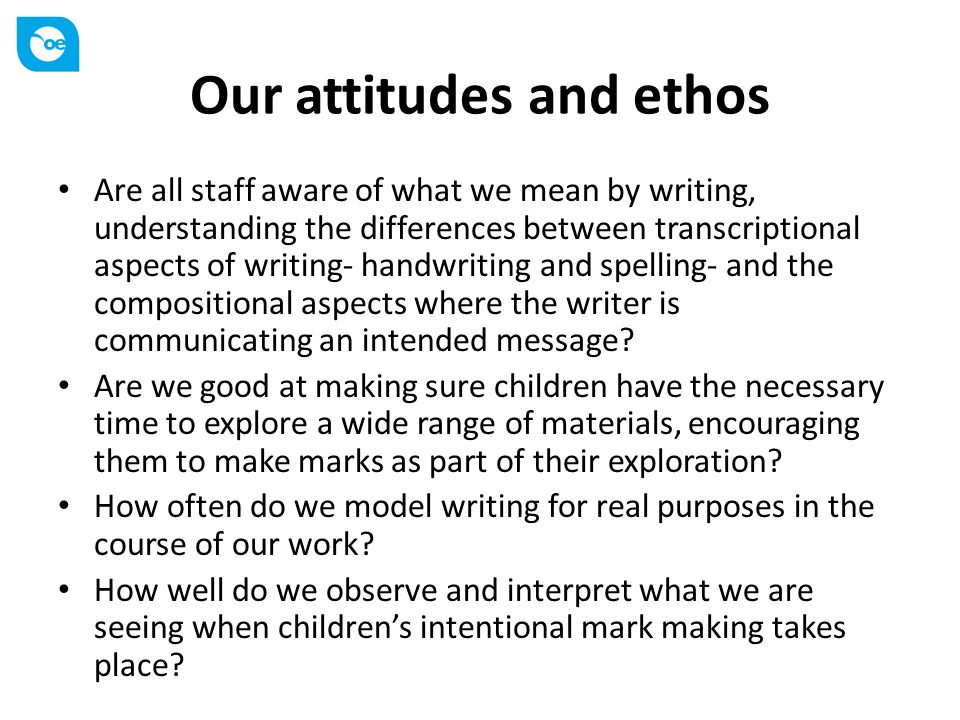 Our attitudes and ethos Are all staff aware of what we mean by writing, understanding the differences between transcriptional aspects of writing- handwriting and spelling- and the compositional aspects where the writer is communicating an intended message.