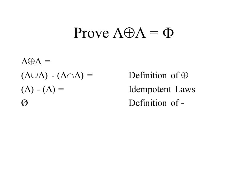 Prove A  A =  A  A = (A  A) - (A  A) = (A) - (A) = Ø Definition of  Idempotent Laws Definition of -