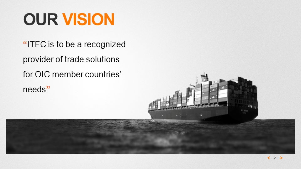 OUR VISION 2 ITFC is to be a recognized provider of trade solutions for OIC member countries' needs