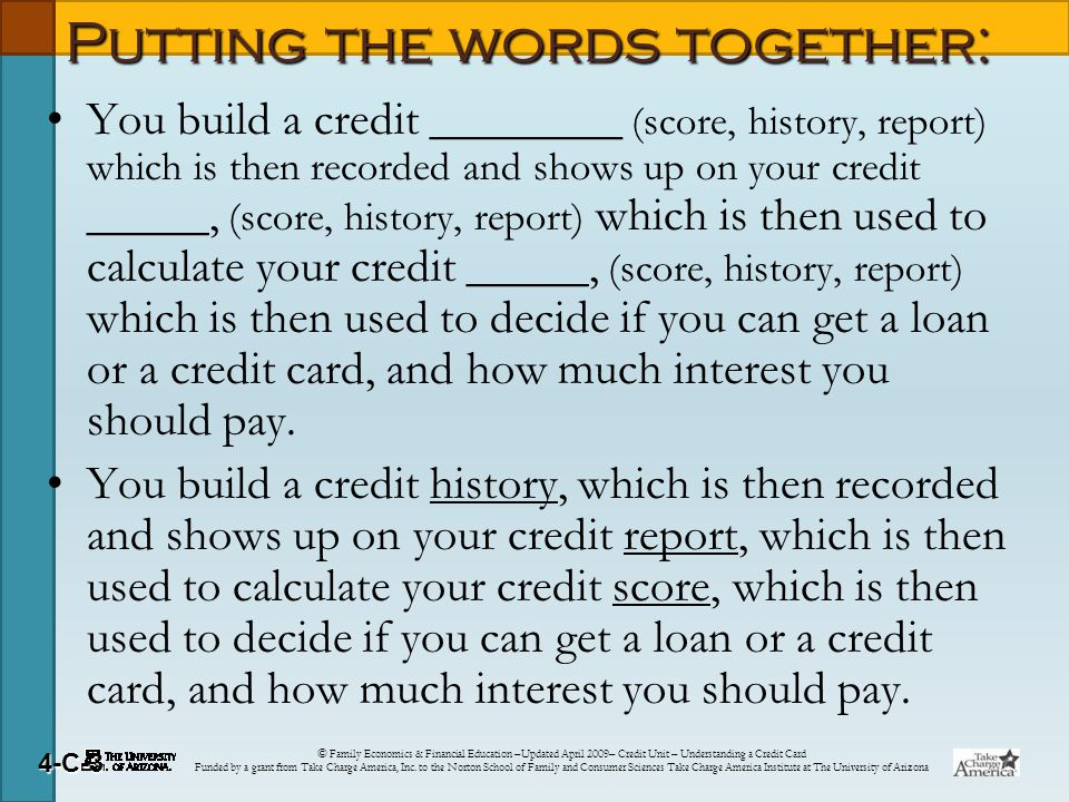© Family Economics & Financial Education –Updated April 2009– Credit Unit – Understanding a Credit Card Funded by a grant from Take Charge America, Inc.