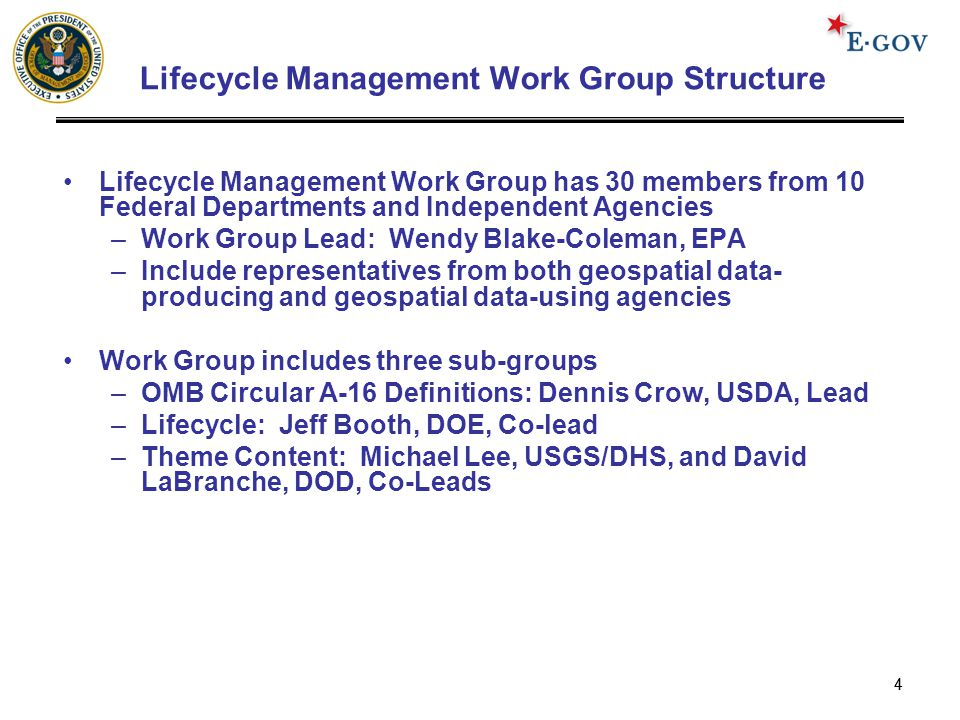 44 Lifecycle Management Work Group Structure Lifecycle Management Work Group has 30 members from 10 Federal Departments and Independent Agencies –Work Group Lead: Wendy Blake-Coleman, EPA –Include representatives from both geospatial data- producing and geospatial data-using agencies Work Group includes three sub-groups –OMB Circular A-16 Definitions: Dennis Crow, USDA, Lead –Lifecycle: Jeff Booth, DOE, Co-lead –Theme Content: Michael Lee, USGS/DHS, and David LaBranche, DOD, Co-Leads