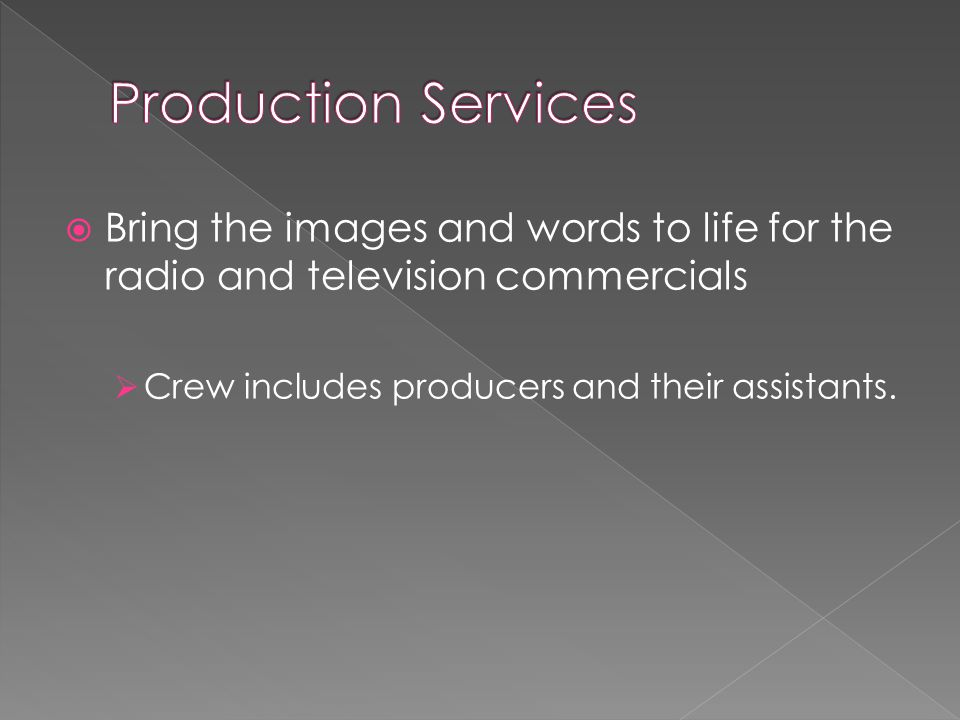 Bring the images and words to life for the radio and television commercials  Crew includes producers and their assistants.