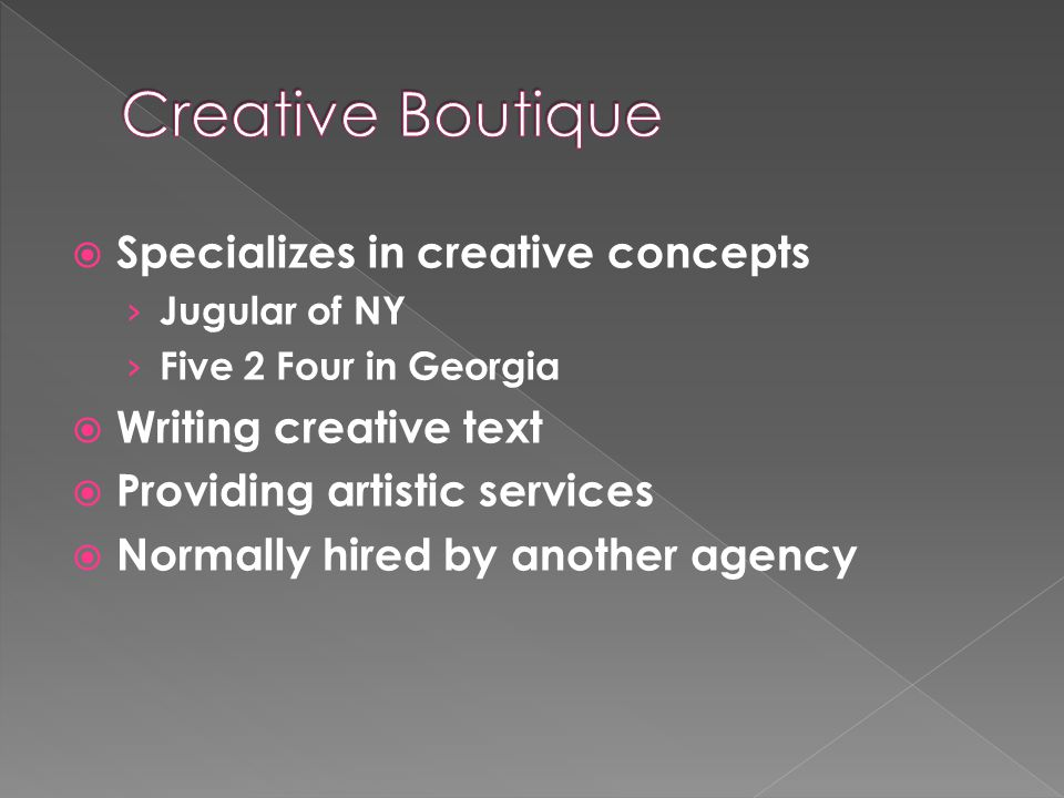  Specializes in creative concepts › Jugular of NY › Five 2 Four in Georgia  Writing creative text  Providing artistic services  Normally hired by another agency