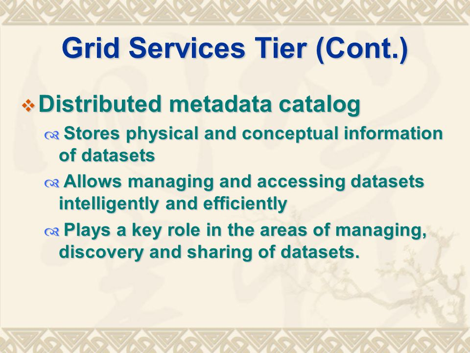 Grid Services Tier (Cont.)  Distributed metadata catalog  Stores physical and conceptual information of datasets  Allows managing and accessing datasets intelligently and efficiently  Plays a key role in the areas of managing, discovery and sharing of datasets.
