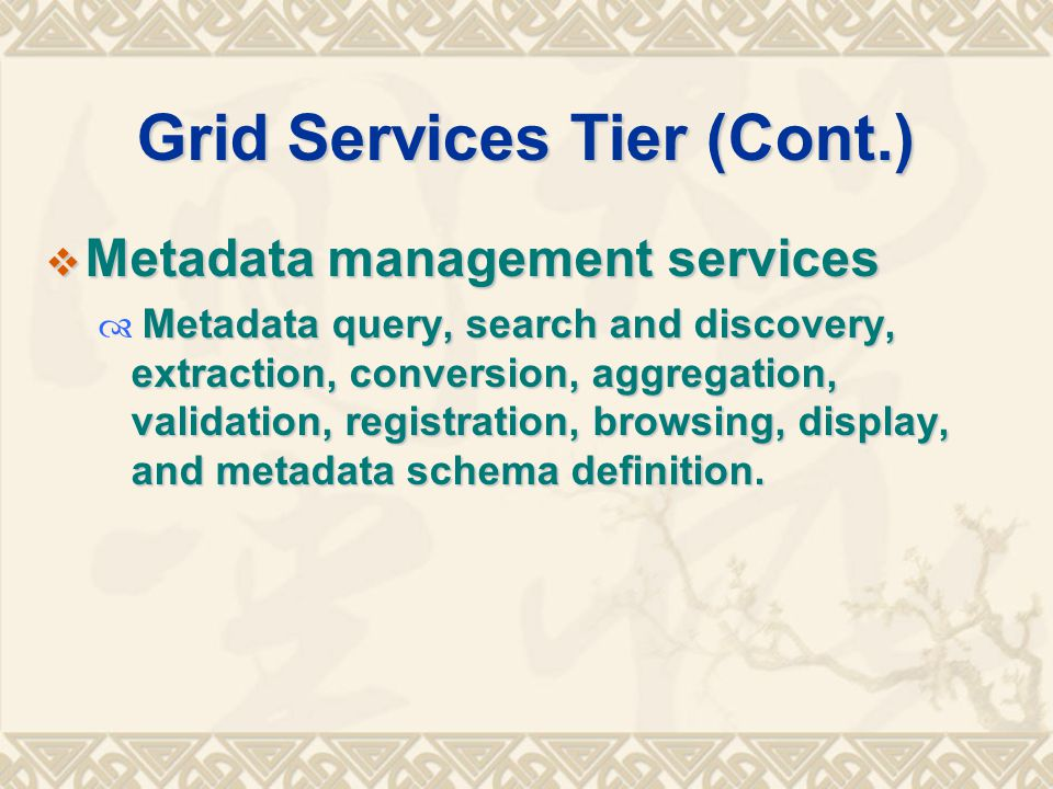 Grid Services Tier (Cont.)  Metadata management services Metadata query, search and discovery, extraction, conversion, aggregation, validation, registration, browsing, display, and metadata schema definition.