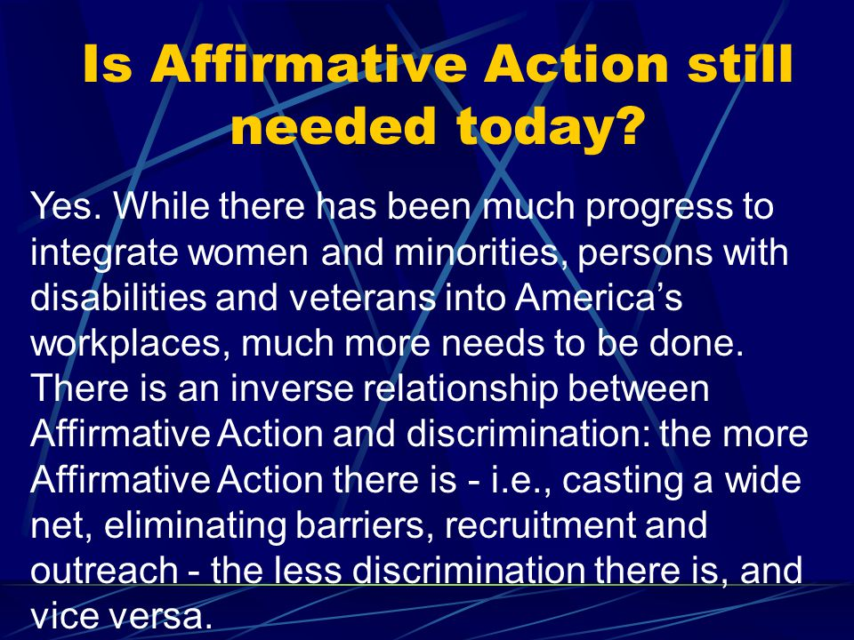 Has Affirmative Action led to reverse discrimination.