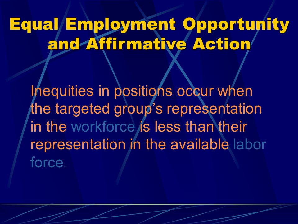 Equal Employment Opportunity and Affirmative Action EEO-4 Categories for state and local government 01 Official/Administrator 02 Professional 03 Technician 04 Protective Service: Sworn 05 Protective Service: Non-Sworn 06 Administrative Support 07 Skilled Craft Worker 08 Service/Maintenance Information for these categories is obtained from the Race, Sex and Occupational Make-up of Iowa's 2000 Labor Force, EEO Special File developed by the U.S.