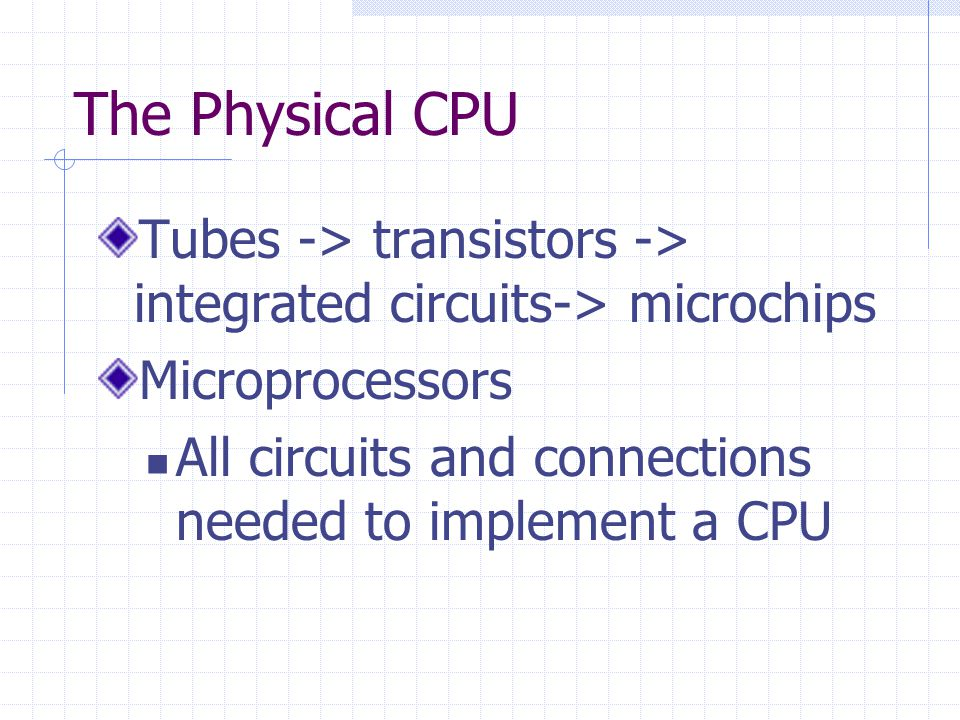 The Physical CPU Tubes -> transistors -> integrated circuits-> microchips Microprocessors All circuits and connections needed to implement a CPU