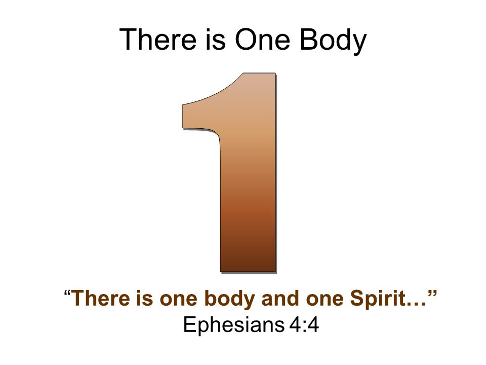There is One Body There is one body and one Spirit… Ephesians 4:4