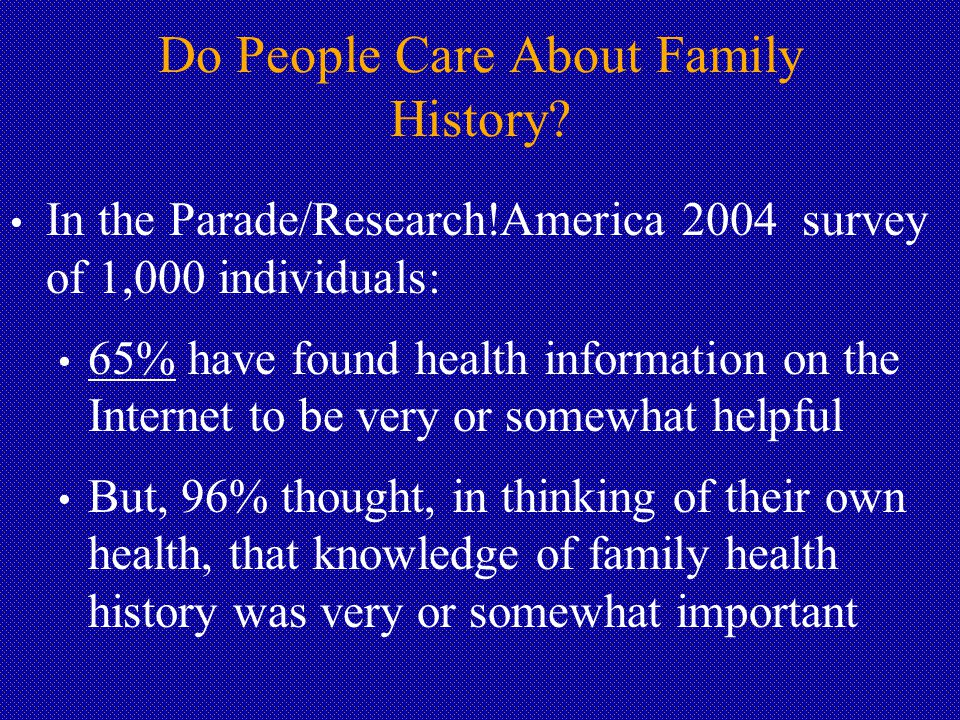 Do People Care About Family History.